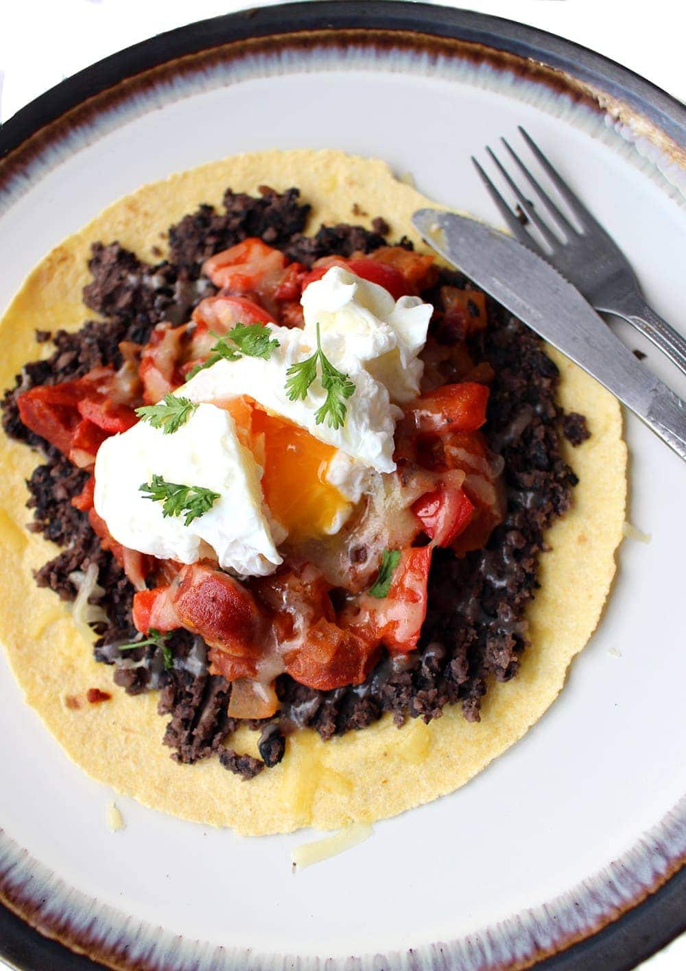 Chorizo Huevos Rancheros With A Poached Egg