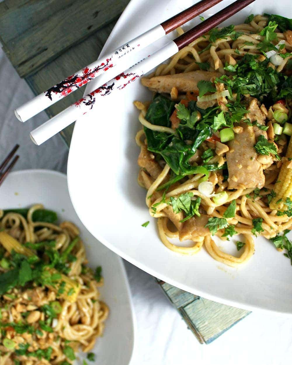 This satay chicken stir fry is packed full of healthy veg and has a rich nutty sauce which makes it perfect for a weeknight dinner.