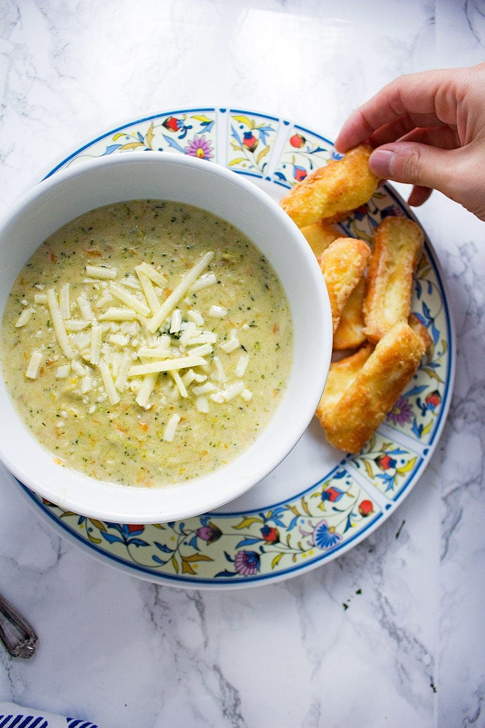 Can you ever have too much cheese? These crispy halloumi fries are the perfect thing to dip into this indulgent broccoli cheese soup.