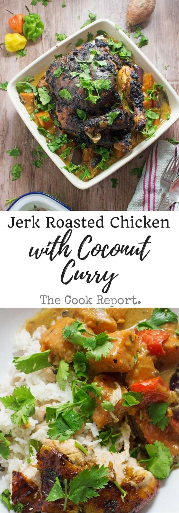 The chicken is coated in jerk spice paste before roasting over chopped vegetables. Serve with a rich and tasty curry sauce made with the cooking juices!