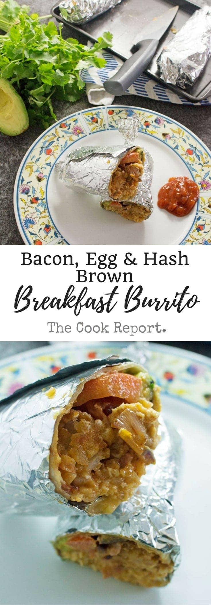 These breakfast burritos stuffed with bacon, egg and hash browns give you the perfect start to the day! They're an impressive but easy to make breakfast.