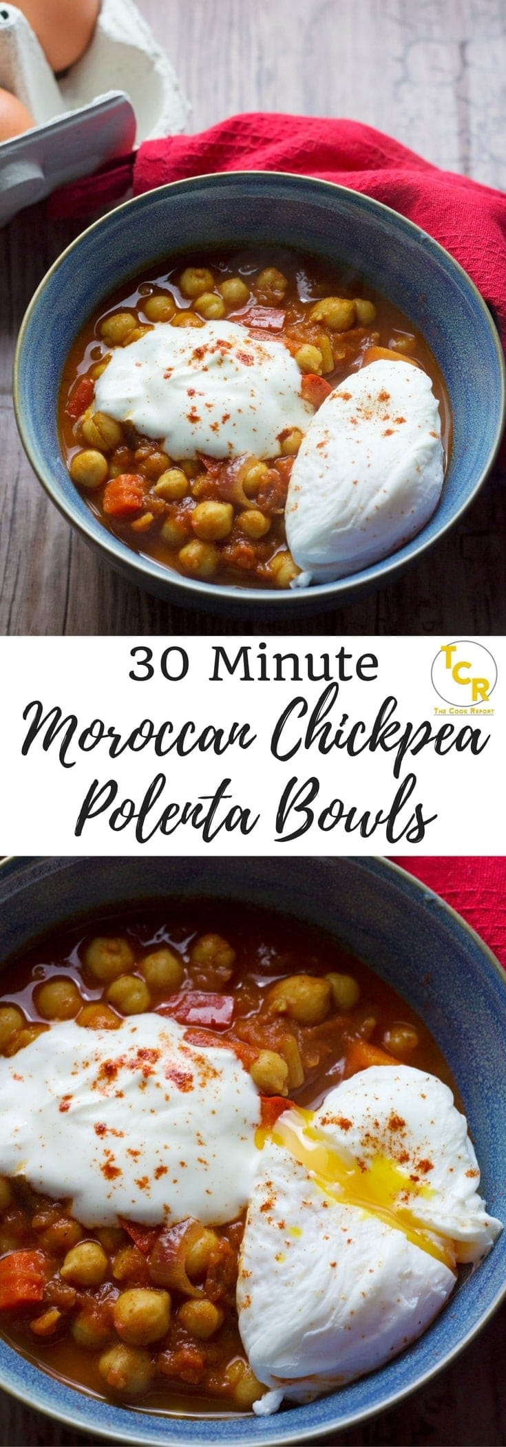 These 30 minute Moroccan chickpea polenta bowls are the perfect weeknight dinner! Smoky chickpeas and creamy polenta are perfect topped with a poached egg.