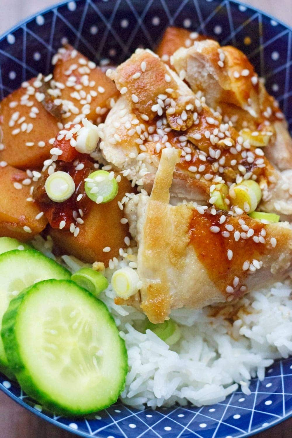 Spicy Korean chicken & potato stew, or dakdoritang, has the perfect balance of sweet and spicy from the use of gochujang and sugar in the broth.