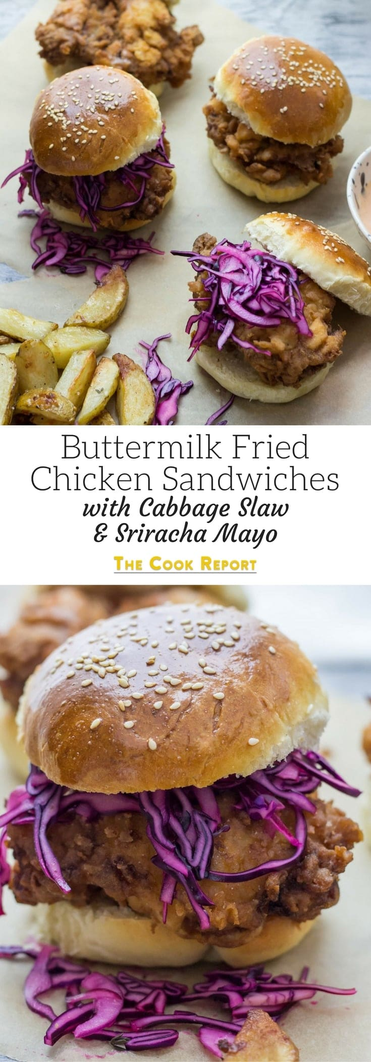 Oh man, fried chicken is just the best isn't it? Especially these buttermilk fried chicken sandwiches with cabbage slaw and sriracha mayo!