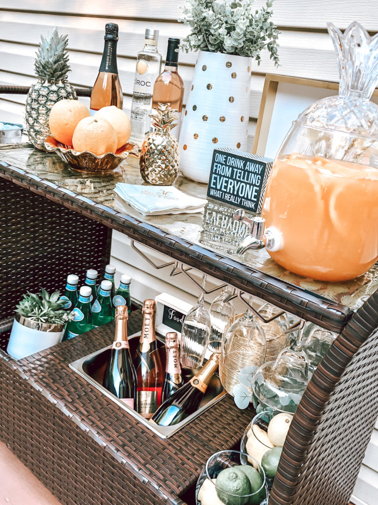 outdoor patio bar cart styling with a