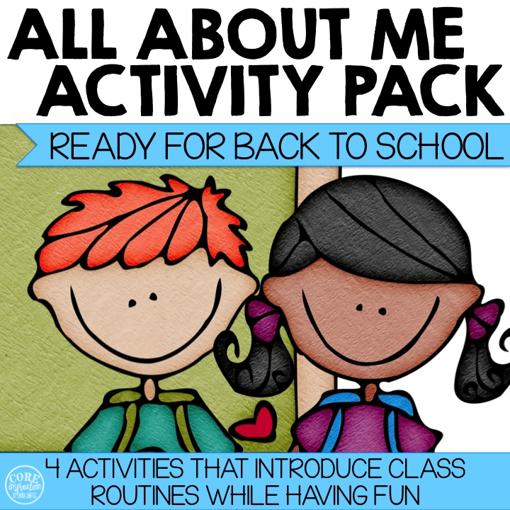 Product Cover All About Me Activity Pack featuring back to school boy and girl