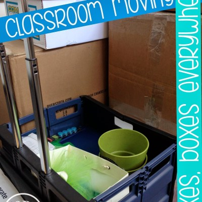 classroom supplies packed in boxes