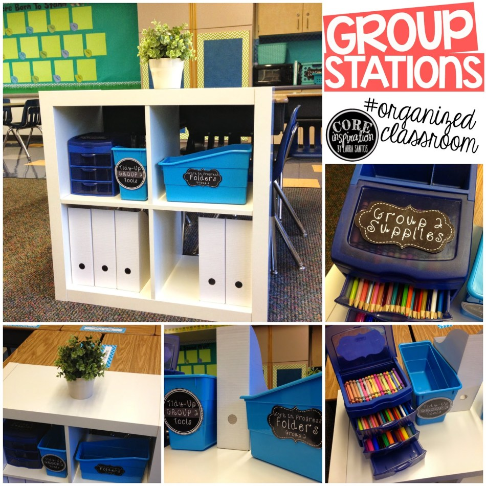 Core Inspiration group stations with book bins, work in progress bins, supply drawers, and tidy up tools