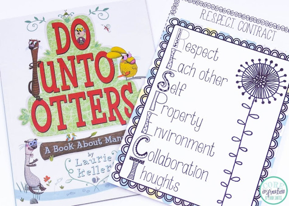 Do Unto Otters book cover, R.E.S.P.E.C.T. poster for classroom management, and RESPECT Classroom Management contract