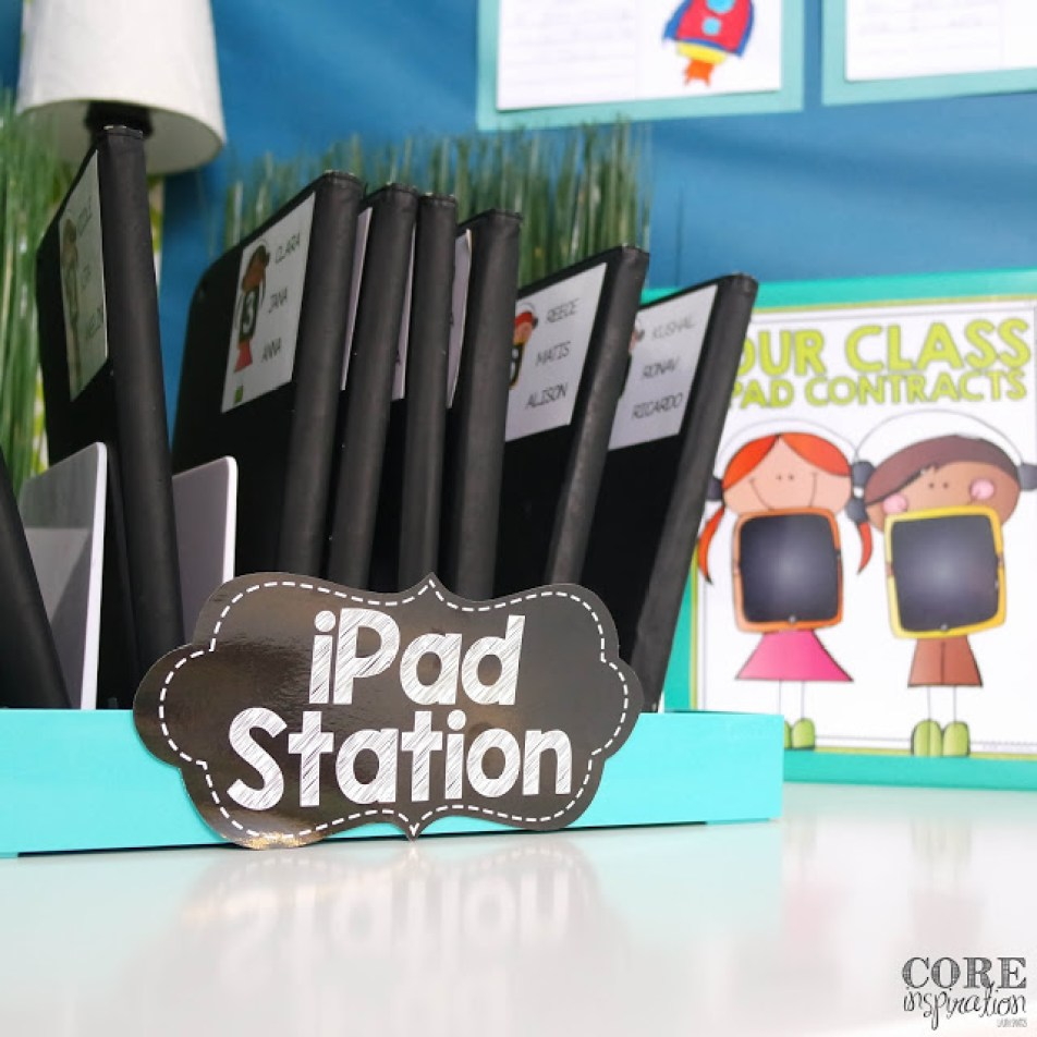 Our new and improved iPad station. Eight labeled iPads each in their own slot and an iPad contract binder.
