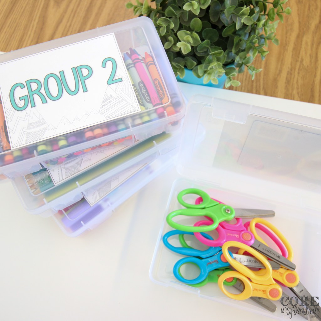 Groups can share classroom supplies using Iris pencil boxes.