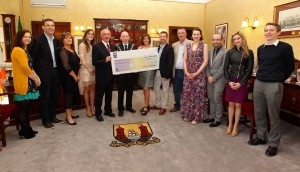 EEjob 24/05/2013<br /> Echo News.<br /> Pictured during the presentation of the proceeds from the Lord Mayor's Cancer Charity Gaa Game in aid of Cork ARC Cancer Support House, Lord Mayor Cllr John Buttimer presents Hilary Sullivan, Cork ARC Cancer Support House with the cheque, also included are  Maria Tracey, The Cork News, Paul Montgomery, Team Captain, Catherine Tiernan, Chill Insurance, Rececca Milner, event committee, Jim Ryng, Bishopstown Gaa Club, Rory Noonan, Evening Echo, Robin Murray, Bishopstown Gaa Club, Joanne McCarthy, Cork ARC Cancer Support House, Ruarai O'Hagan, RedFM, Lorraine Kelleher and Dominic Kelly, both with Cameo Communications, at the City Hall, Cork.<br /> Picture: Jim Coughlan.