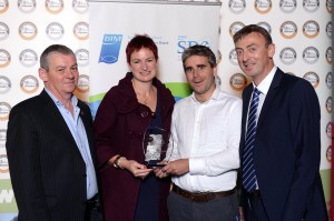 Mark Muldoon of Kinsale Gourmet winner of Blas na hEireann / Irish Food Award for Innovation sponsored by BIM's Seafood Development Centre (SDC) with Aileen Deasy and Paul Ward of the SDC and Arty Clifford of Blas na hEireann.  Picture by Don MacMonagle