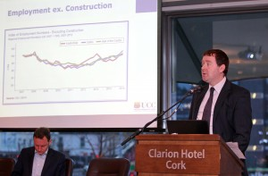 REPRO FREE - FREE PICTURES. 24/11/2015. Economic Briefing on the economic recovery and its implications for Cork and County, at the Clarion Hotel, Lapps Quay, Cork. Pictured speaking at the briefing, Seamus Coffey, Economics Lecturer University College Cork. Picture: Jim Coughlan. Cork ranks above the national average in terms of its economic recovery   A new economic analysis has shown that the South West has enjoyed a stronger rebound in employment than the national average.    Leading economist Seamus Coffey, speaking at an Economic Briefing in Cork today (24th November 2015) says that Cork city and county have also seen a faster than average drop in numbers signing on the Live Register.  Mr. Coffey, who is a lecturer in University College Cork, has analysed the economic trends in the Cork area using traffic volumes, employment, rents and the presence of multinationals.     The Economic Briefing event, which was hosted by RTE Media Sales, Hopkins Communications and the Clarion Hotel, saw David Murphy, Business Editor at RTE News, chair an in-depth discussion on the extent of 'The Recovery' around the regions, with a special focus on Cork.    Bob Savage (Vice-President & MD at EMC Ireland) and Jim Woulfe (CEO at Dairygold), two of the region's largest employers, participated in the discussion, with lively input from business leaders in the audience.   Seamus Coffey analysed the local trends, and the key findings were as follows:   • Employment:  Employment nationally has grown 2.9% in the past 12 months – while the South-West Region (Cork & Kerry) has outstripped this at 3.3%, with increased employment of almost 10,000.   • Housing:  Rents countrywide are up 9% in the last 12 months – rents in Cork city have risen by 13.5%, and 10% in the County.   • Cars & Traffic:  The national average new car sales registered is up 70% compared to 2013, while in Cork city and county the figure runs to 77%.  Traffic volumes in and around Cork city have increased
