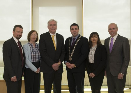 The Canadian Ambassador, Mr. Kevin Vickers on his visit to Cork County Hall where he made a presentation of €5,000 to Cork County Council towards the upkeep of Air India Ahakista Memorial.  Pictured (left to right): Sean O'Callaghan, Senior Executive Officer, Cork County Council, Clodagh Henehan, Divisional Manager (West) Cork County Council, Canadian Ambassador, Kevin Vickers, Cllr. John Paul O'Shea, Mayor of the County of Cork, Jackie Ellis, General Relations Officer, Embassy of Canada and Tim Lucey, Chief Executive Cork County Council.  Photo: Martin Walsh.