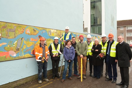Grattan Street 3 picture shows Eddie Feehilly Painting Contractor putting the final touches after the installation of the History of Cork Mural on Grattan St Car Park. The mural was painted by the children from Cork Educate Together National School.