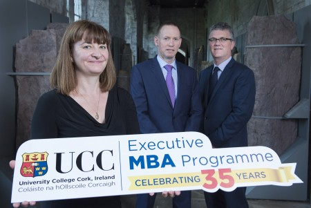 Free Pic no repro fee  Dr. Joan Buckley  Academic Director, UCC Executive MBA , Mr. Pat Roche  Corporate VP, Moog Inc  and  Prof. John O' Halloran VP for Teaching & Learning, UCC pictured at The UCC Executive MBA 35 Year Celebration in The Staff Common Room, UCC Pictures by Gerard McCarthy 087 8537228   more info contact  Senan Ensko   The UCC Executive MBA   mba@ucc.ie   (0)21 490 2394