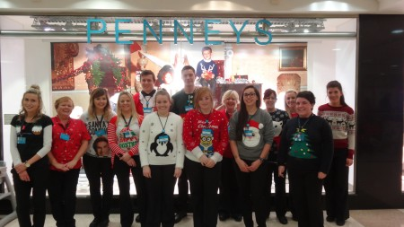 The Penneys team model their Christmas Jumpers for the Cork Simon Christmas Jumper Day which was held in Wilton Shopping Centre on Friday 20th November. L-R Elaine Kavanagh, Janet Bowderen, Nicole Stacey, Fiona Sweeney, Jennifer Twohig, Kane Looney, Cillian McMahon, Hannah Corr-Cowie, Charlotte Templar, Deirdre O' Leary, Elaine Lane, Marian Lyons, Katrina Buckley, Laura Kennelly © Sabrina Horgan, Tel: 087-985 0925 Email: sabrinahorgan1@gmail.com