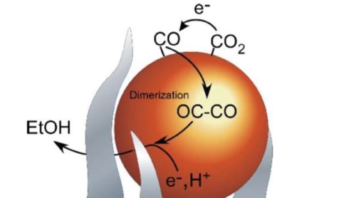 Action of catalyst (white): The pointed ends focus electric field which favours the reaction
