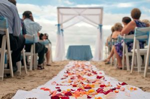 Costa Rica beach wedding, photo of the chairs and aisle on the beach