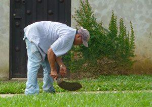 Cutting grass with a machete in Costa Rica
