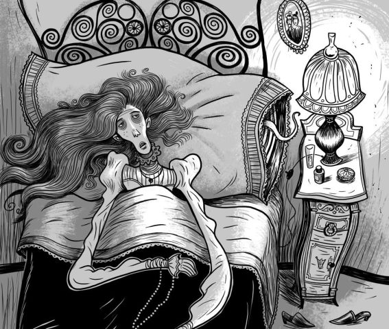 It is a drawing out of scaring tale of Horacio Quiroja, a Latin American horror writer.