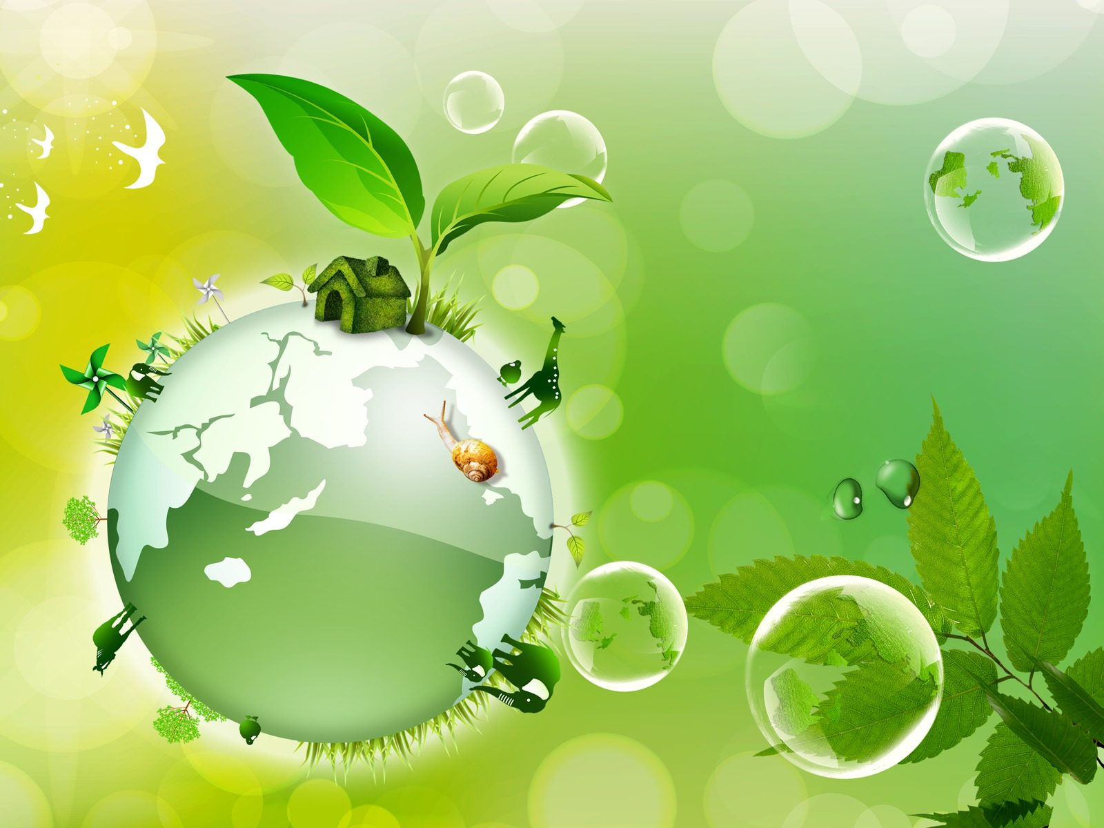 Green Ecology Planet Vector Background With Trees Around Globe ...