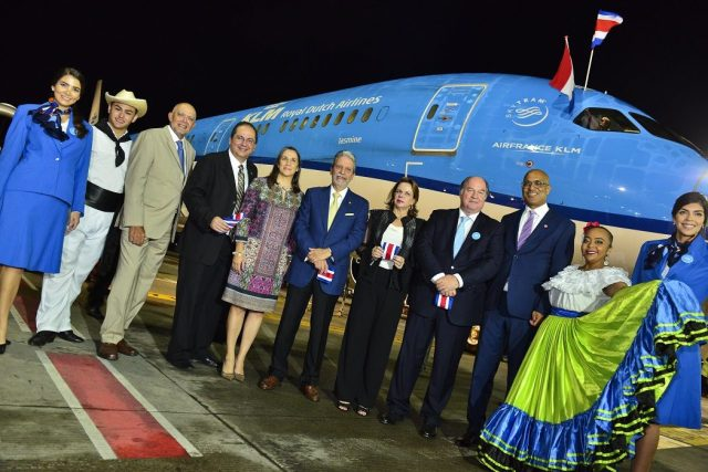 KLM Royal Dutch Aviation Company inaugurated its direct flight to Costa Rica.