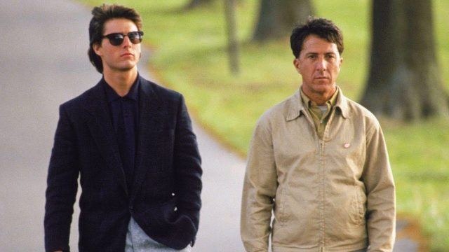 """Rain man"" was starred by Tom Cruise and Dustin Hoffman."