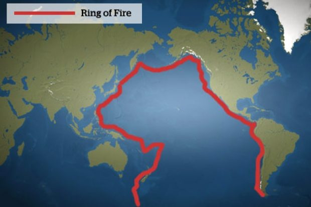 """The """"Ring of Fire"""" has a horseshoe shape."""