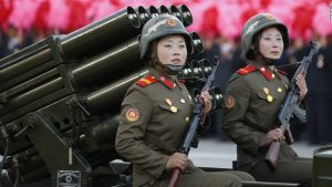 Female soldiers receive a hard tough training in the North Korean army.