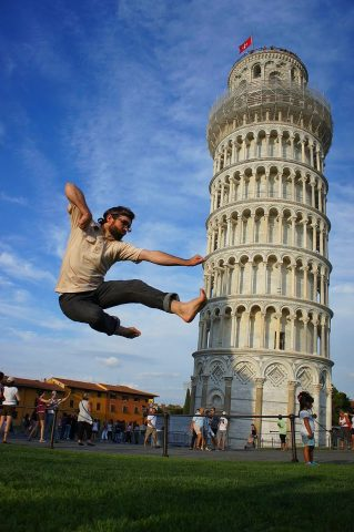"Many tourists like to ""trick"" their photos with funny effects."