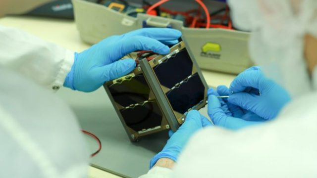 This satellite is prety small (a 10-centimeter-cube and a weight of 1 kilogram)