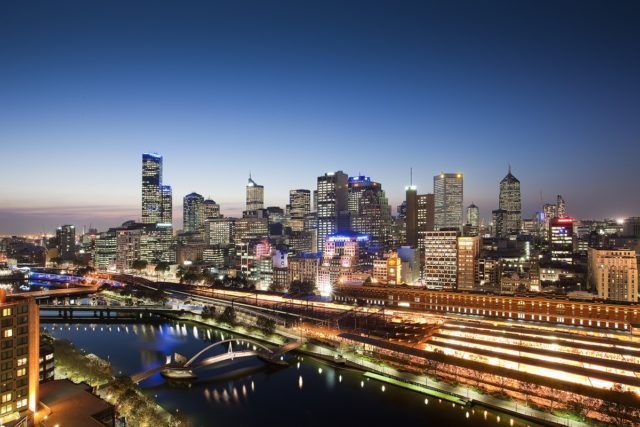 City of Melbourne in the evening