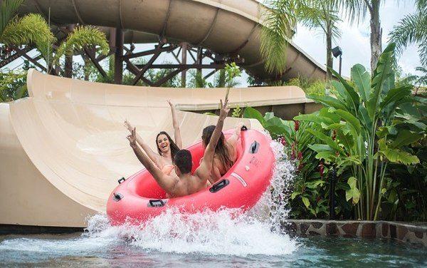 Tourists enjoying the water slides