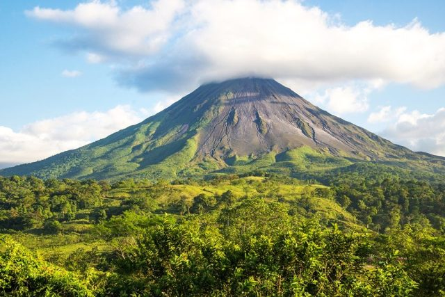 Arenal volcano landscape in a sunny day