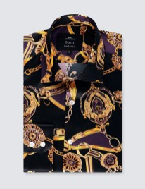 Men's Black & Yellow Knot Print Slim Fit Silk Shirt – 100% Silk