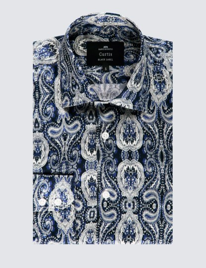 mens hawes and curtis luxury silk shirt paisley