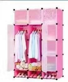 3-Column Plastic Wardrobe-Pink