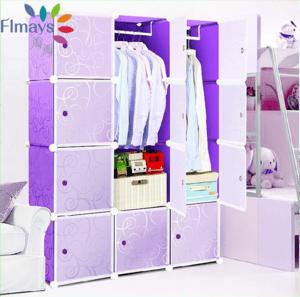 3-Column Plastic wardrobe-Purple