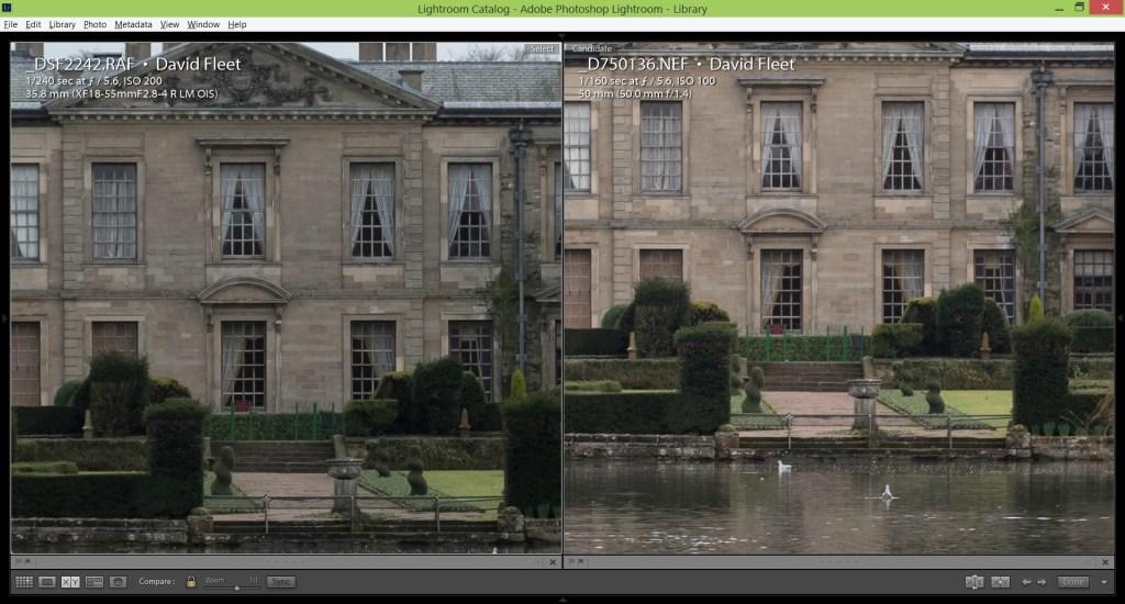 Fuji XT2 vs Nikon D750 image comparison of both photos zoomed in 100%