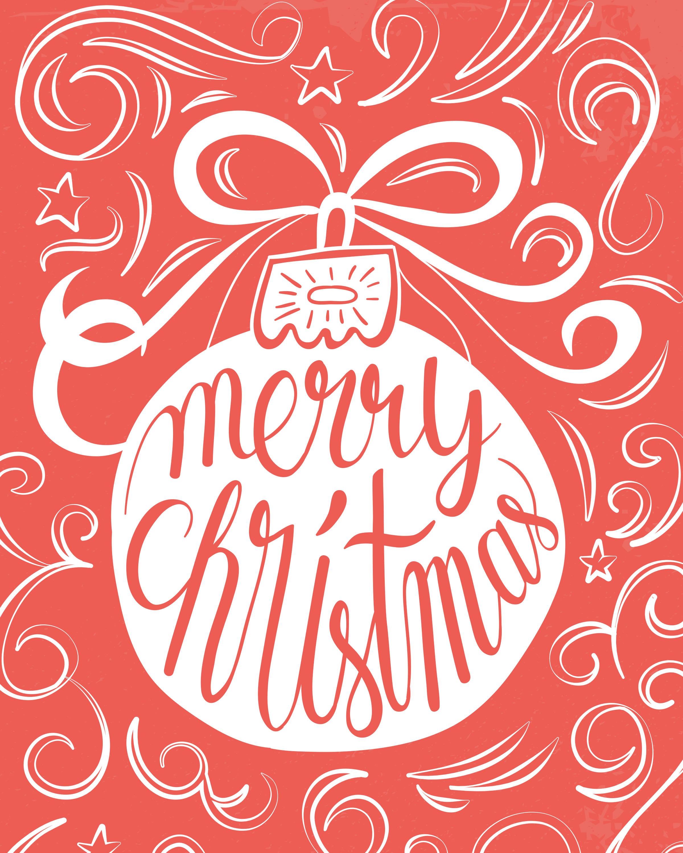 Free Printable Merry Christmas Ornament Prints