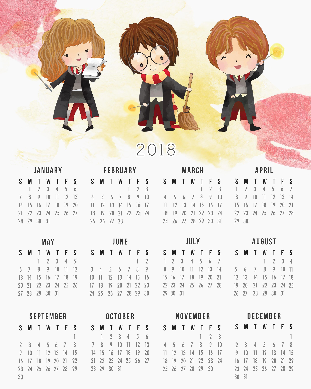 Free Printable Harry Potter Calendar