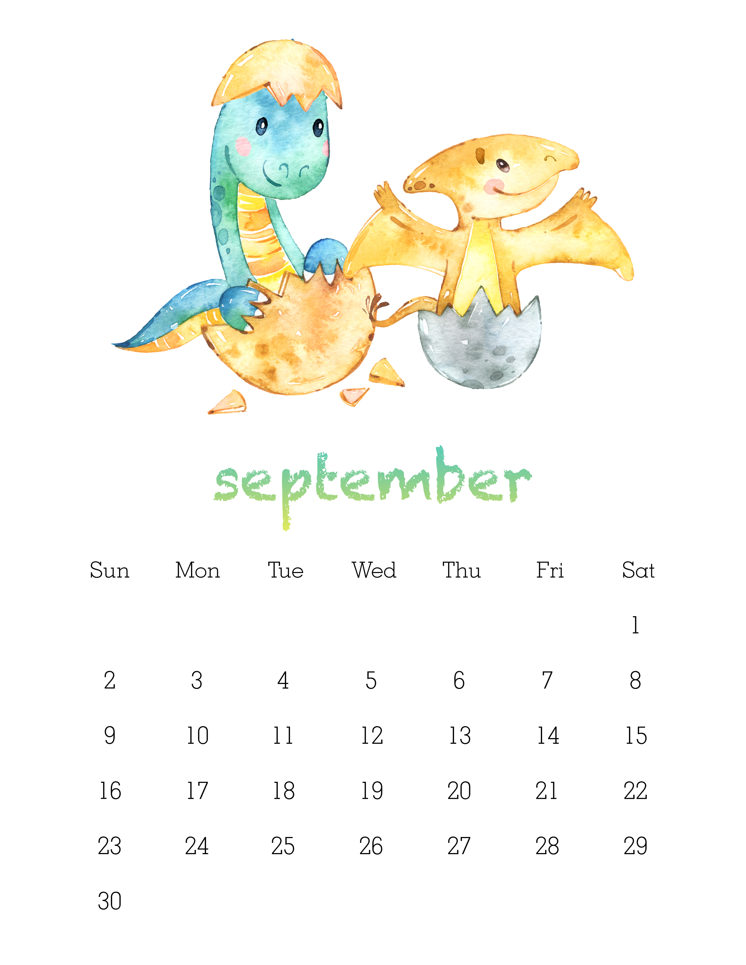 Free Printable Watercolor Dinosaur Calendar