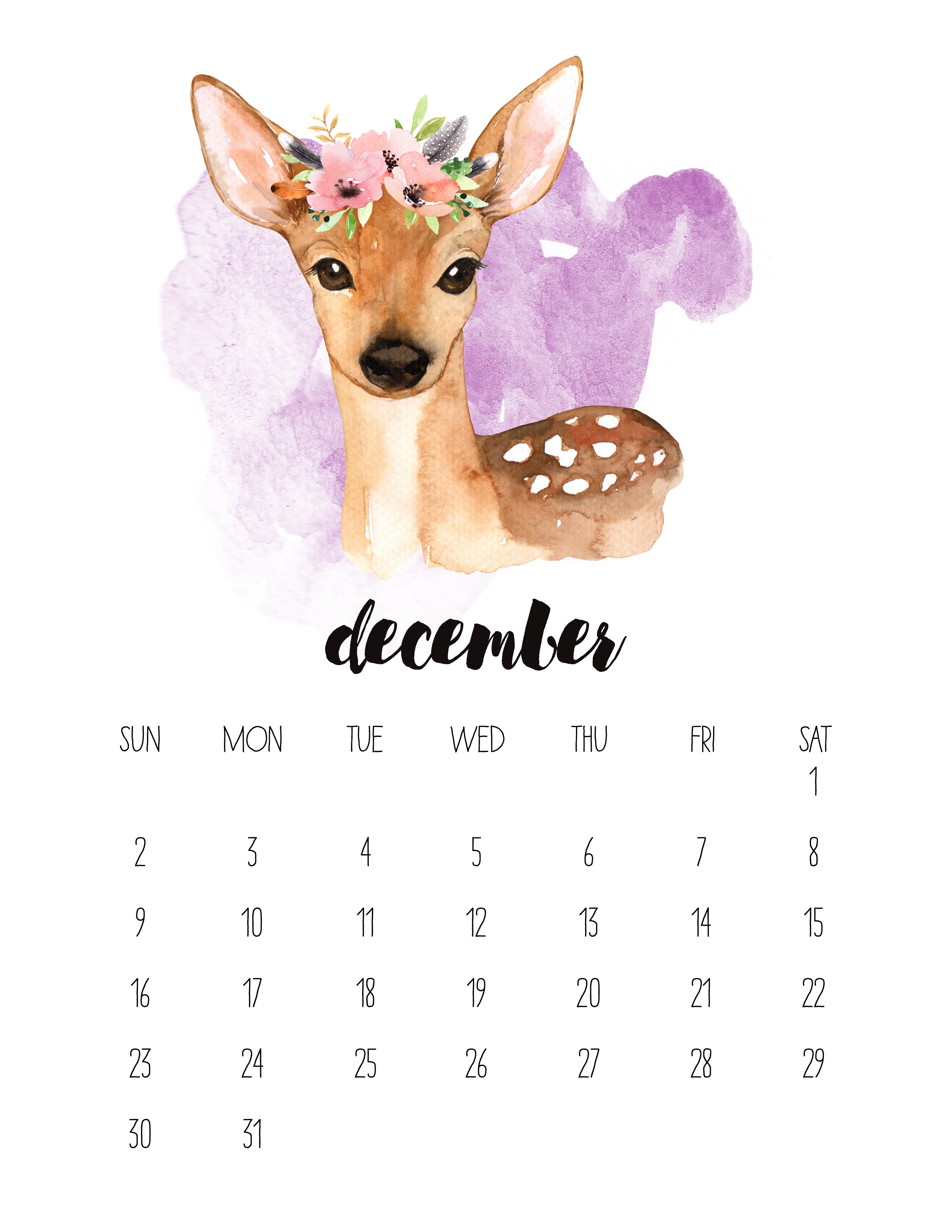 Free Printable Watercolor Animal Calendar