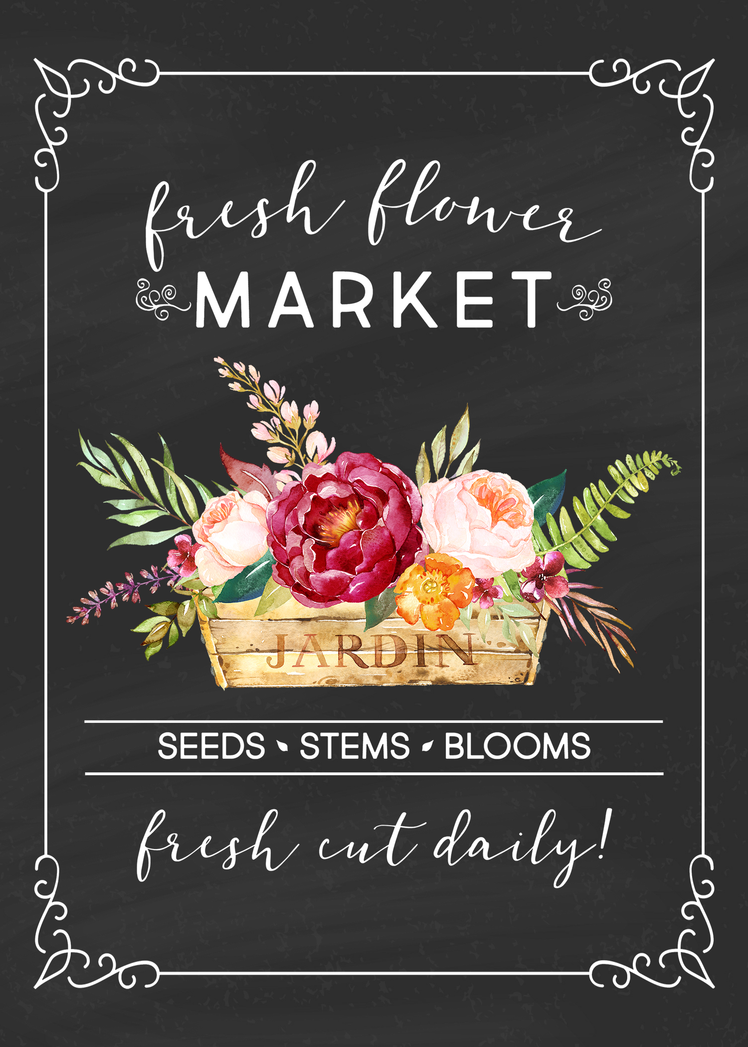 Free Printable Farmhouse Fresh Flower Market Wall Art