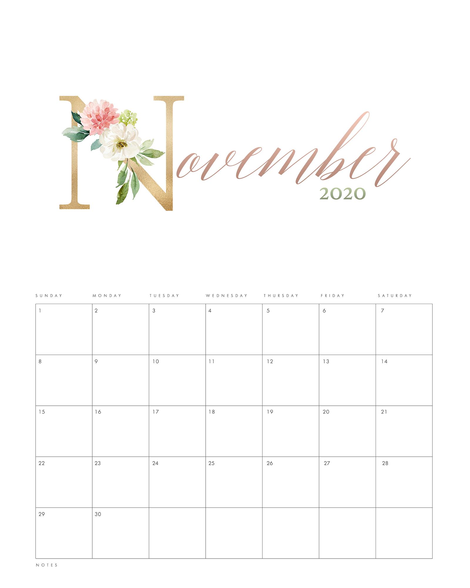 Pretty Floral Free Printable Calendar