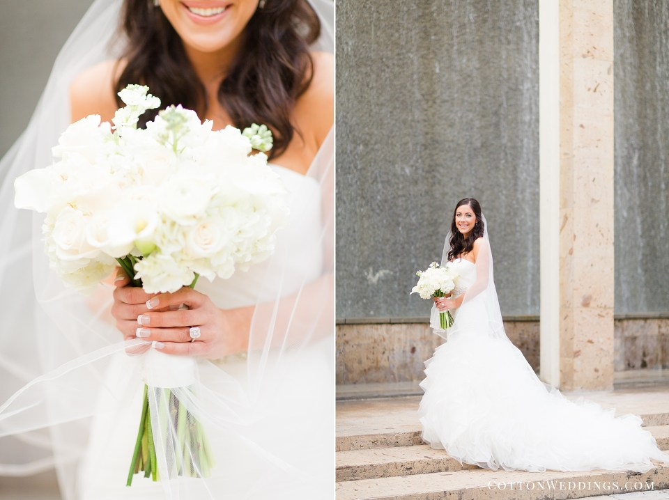 bride against water wall