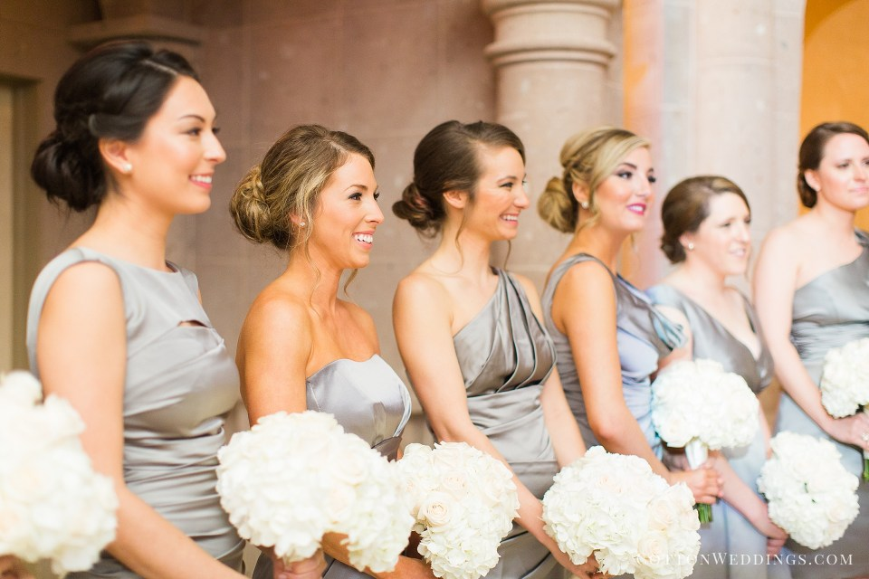 bridesmaids smiling crying during ceremony