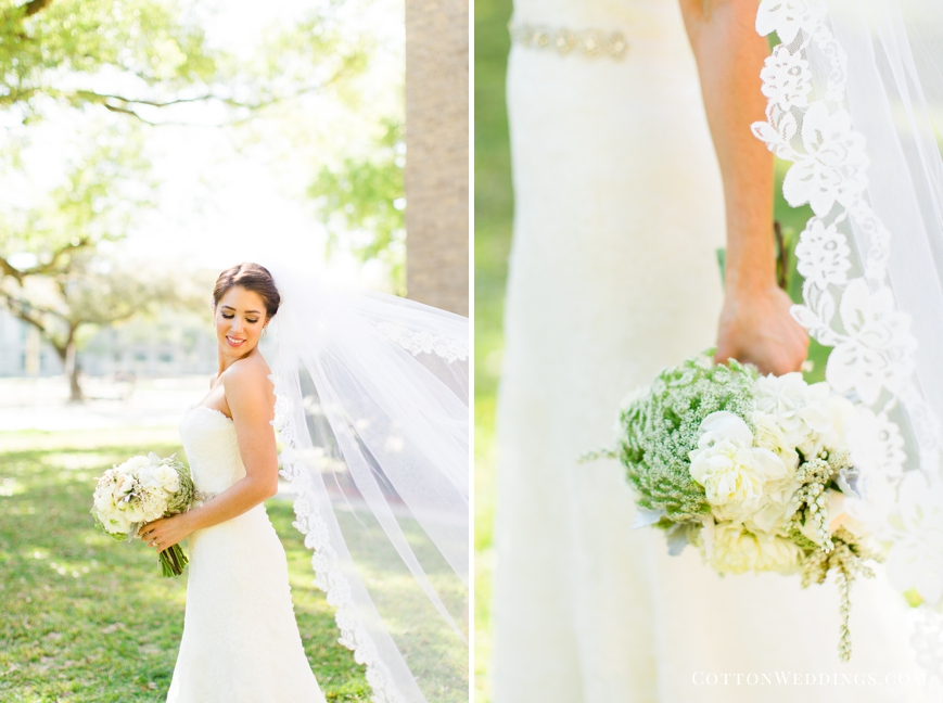 bride with cathedral veil simple floral bouquet
